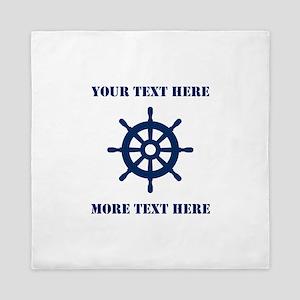 Custom Nautical Boat Wheel Queen Duvet Cover