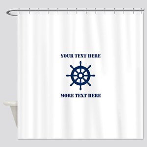 Custom nautical ship wheel Shower Curtain