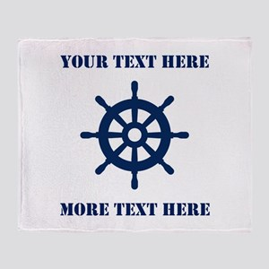Custom Nautical Ship Wheel Logo Throw Blanket