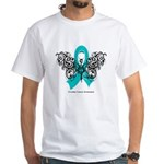 Ovarian Cancer Tribal Butterfly White T-Shirt