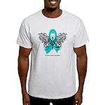 Ovarian Cancer Tribal Butterfly Light T-Shirt