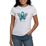 Ovarian Cancer Tribal Butterfly Women's T-Shirt