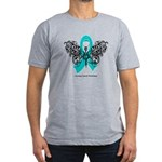 Ovarian Cancer Tribal Butterfly Men's Fitted T-Shi