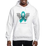 Ovarian Cancer Tribal Butterfly Hooded Sweatshirt