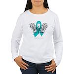 Ovarian Cancer Tribal Butterfly Women's Long Sleev