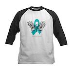 Ovarian Cancer Tribal Butterfly Kids Baseball Jers