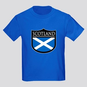 Scotland Flag Patch Kids Dark T-Shirt