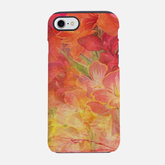 Floral Pink Flowers Vintage Pa iPhone 7 Tough Case