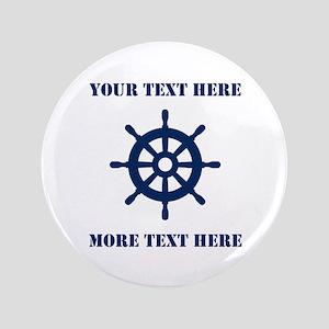 Custom Nautical Ship Wheel Name Badge Button