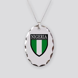 Nigeria Flag Patch Necklace Oval Charm