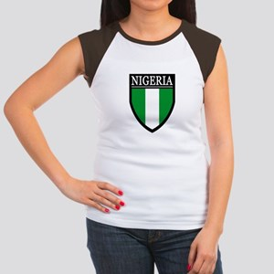 Nigeria Flag Patch Women's Cap Sleeve T-Shirt