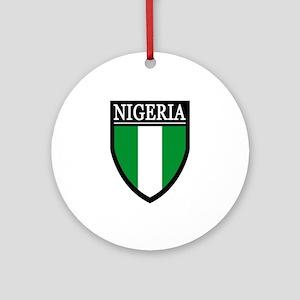 Nigeria Flag Patch Ornament (Round)