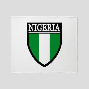 Nigeria Flag Patch Throw Blanket