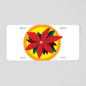 Poinsettia Aluminum License Plate