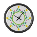 Spring flowers Large Wall Clock