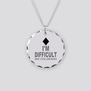 I'm Difficult Ski Colorado Necklace Circle Charm