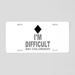 I'm Difficult Ski Colorado Aluminum License Plate