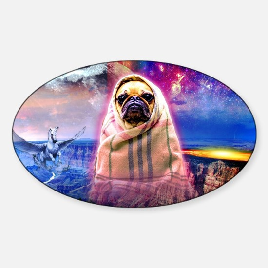 Cute Pugs fly Sticker (Oval)