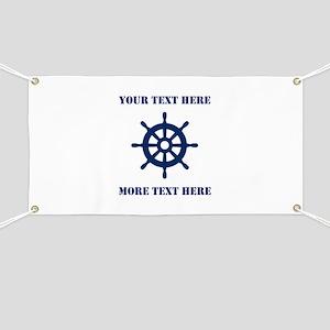 Custom nautical ship wheel Banner