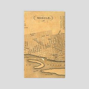 Vintage Map of Mobile Alabama (1840) Area Rug