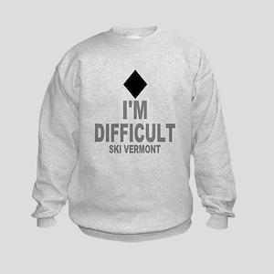 I'm Difficult ~ Ski Vermont Kids Sweatshirt