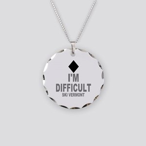 I'm Difficult ~ Ski Vermont Necklace Circle Charm