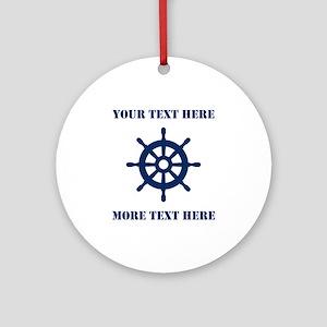 Custom Maritime Boat Wheel Round Ornament