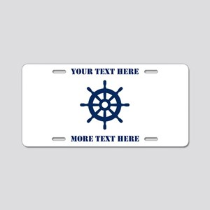 Custom nautical ship wheel Aluminum License Plate