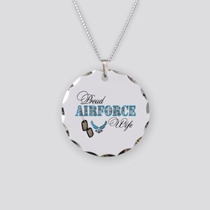 Proud Air Force Wife Necklace Circle Charm