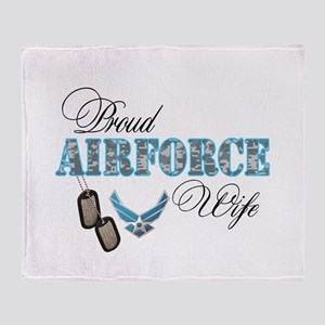 Proud Air Force Wife Throw Blanket