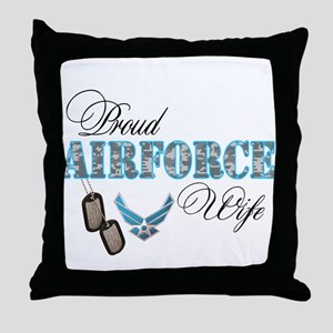 Proud Air Force Wife Throw Pillow