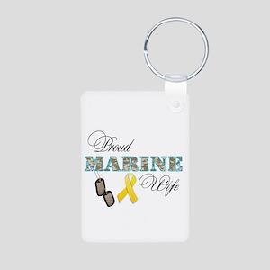 Proud Marine Wife Aluminum Photo Keychain