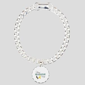 Proud Marine Wife Charm Bracelet, One Charm