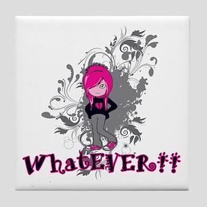 attitude whatever emo girl vector art Tile Coaster