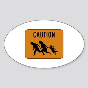 Immigrant Crossing Sign Sticker (Oval)