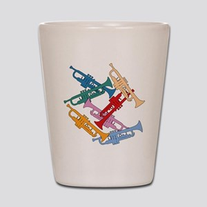 Colorful Trumpets Shot Glass