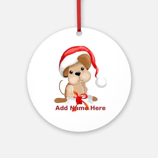 personalized Xmas Santa Dog Ornament (Round)