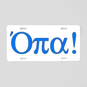 Opa (in Greek) Aluminum License Plate