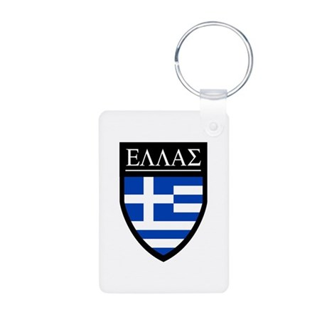 Greece (Greek) Patch Aluminum Photo Keychain