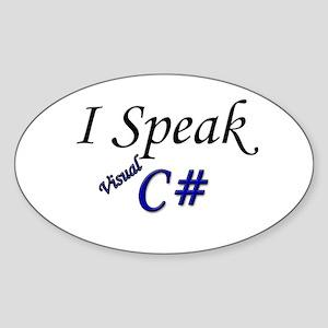 """""""I Speak Visual C#"""" Oval Sticker"""