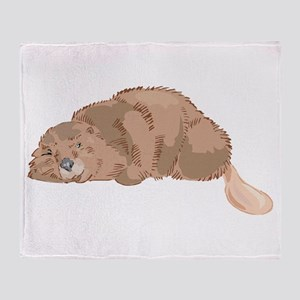 Cute Beaver Throw Blanket