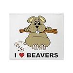 I Love Beavers Throw Blanket