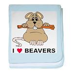 I Love Beavers baby blanket