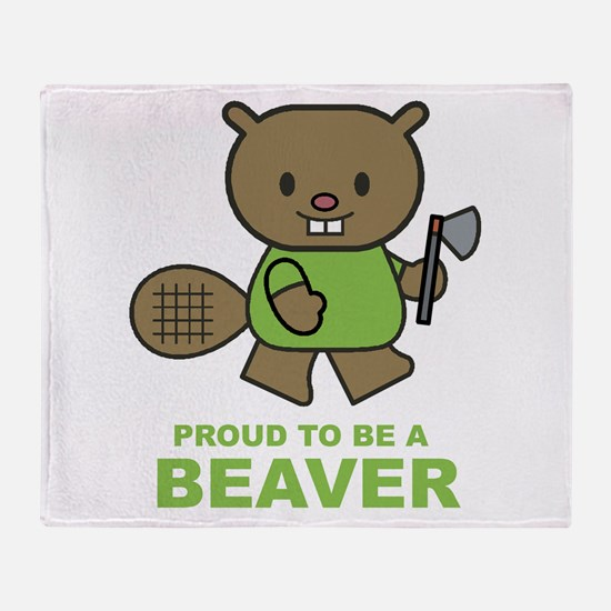 Proud To Be A Beaver Throw Blanket