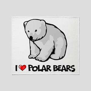 I Love Polar Bears Throw Blanket