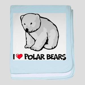 I Love Polar Bears baby blanket