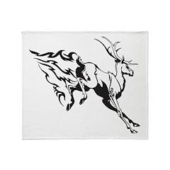 Flaming Deer Throw Blanket