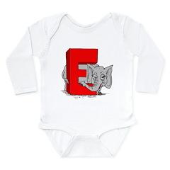 E is for Elephant Long Sleeve Infant Bodysuit