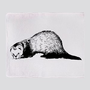 Hand Sketched Ferret Throw Blanket