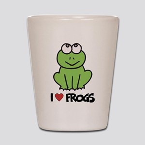 I Love Frogs Shot Glass